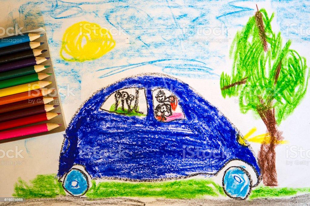 Drawing child, family travel - foto de stock