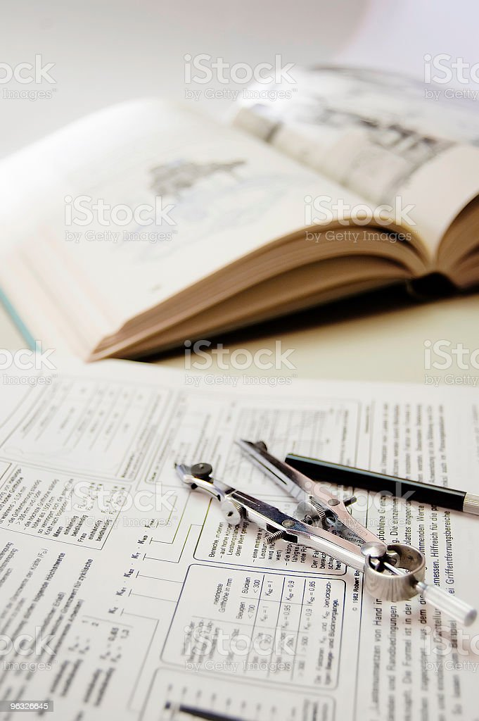 Drawing Compass & Book stock photo