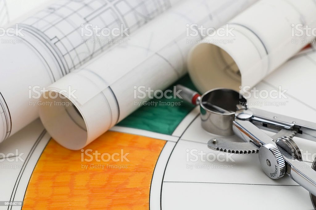 Drawing Compass & Blueprints royalty-free stock photo