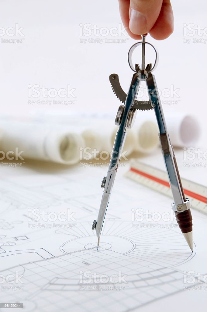 Drawing Compass In Use royalty-free stock photo