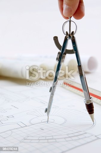Drawing Compass In Use Stock Photo & More Pictures of Architecture