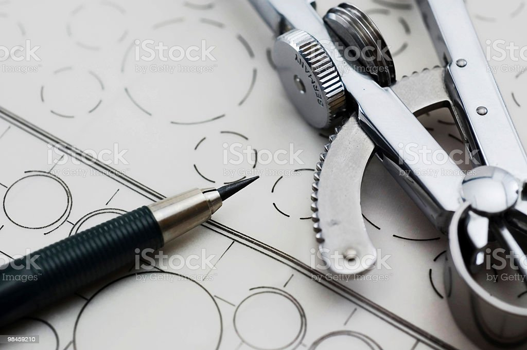Drawing Compass & Pen stock photo
