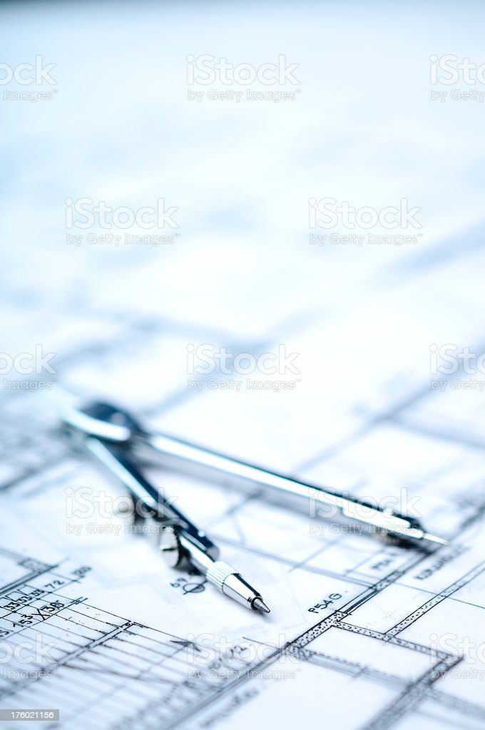 Drawing Compass with Selective Focus royalty-free stock photo