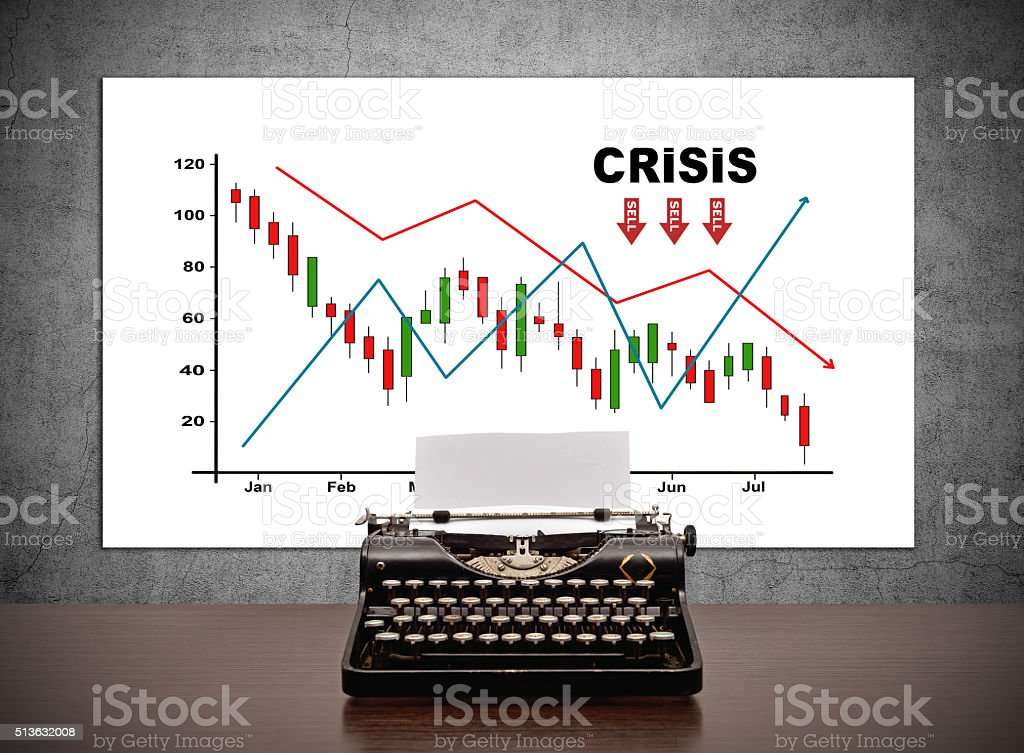 drawing crisis chart on placard stock photo