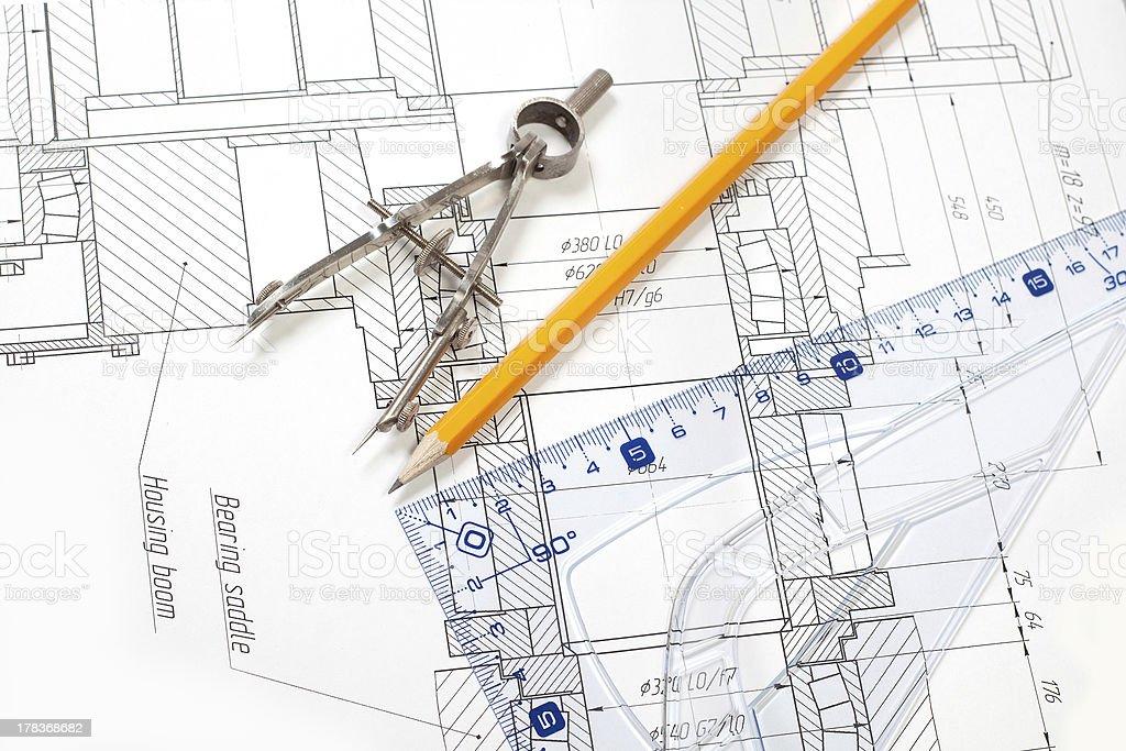 drawing detail and several tools royalty-free stock photo