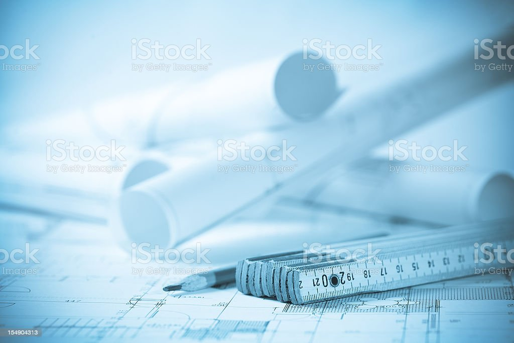 Drawing detail and tools royalty-free stock photo