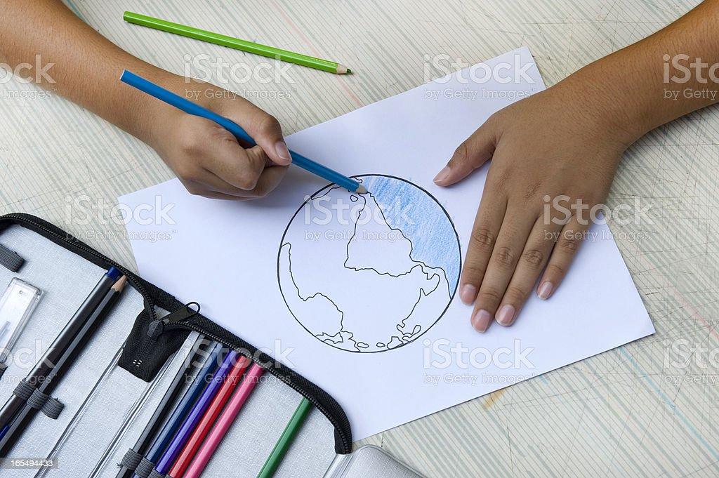 Drawing earth stock photo