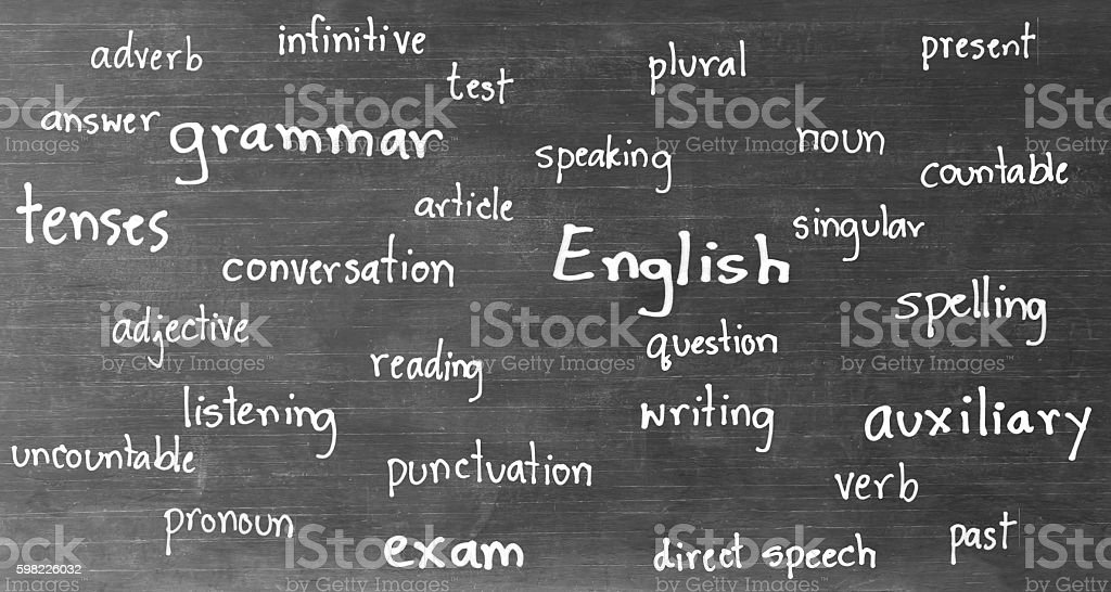 drawing english words on blackboard foto royalty-free