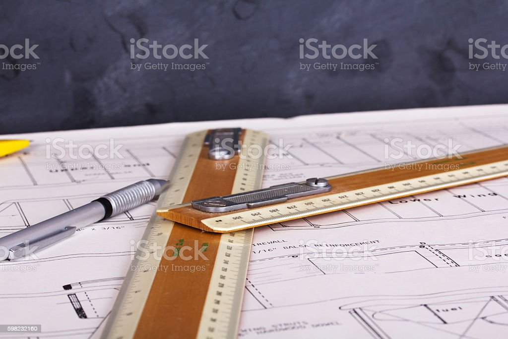 Drawing equipment on plans for making a model aircraft foto royalty-free