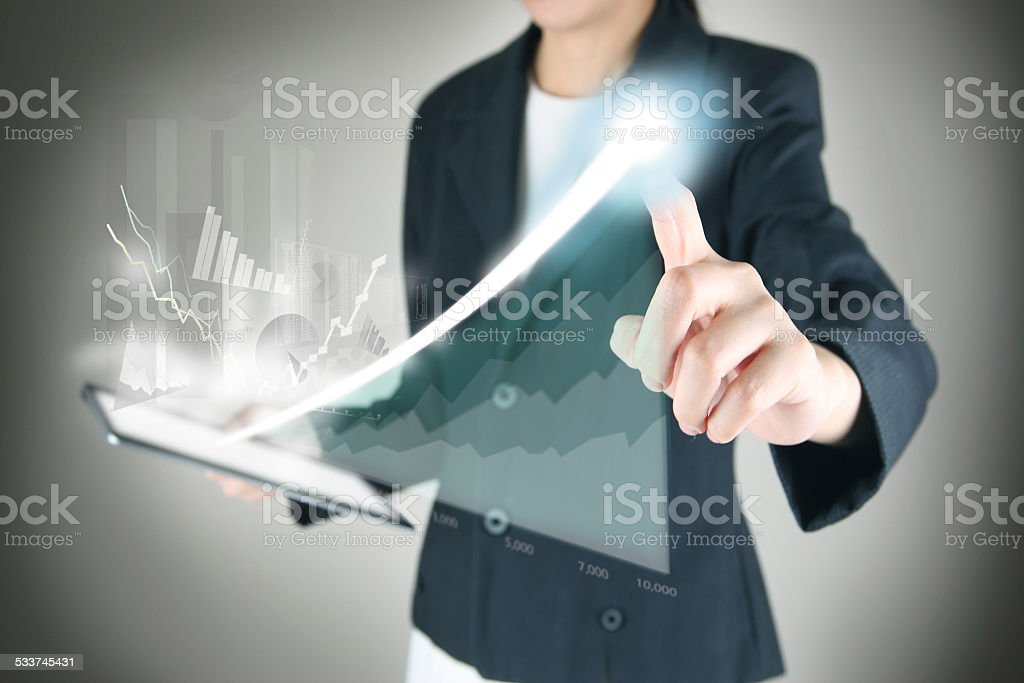 drawing financial graph stock photo