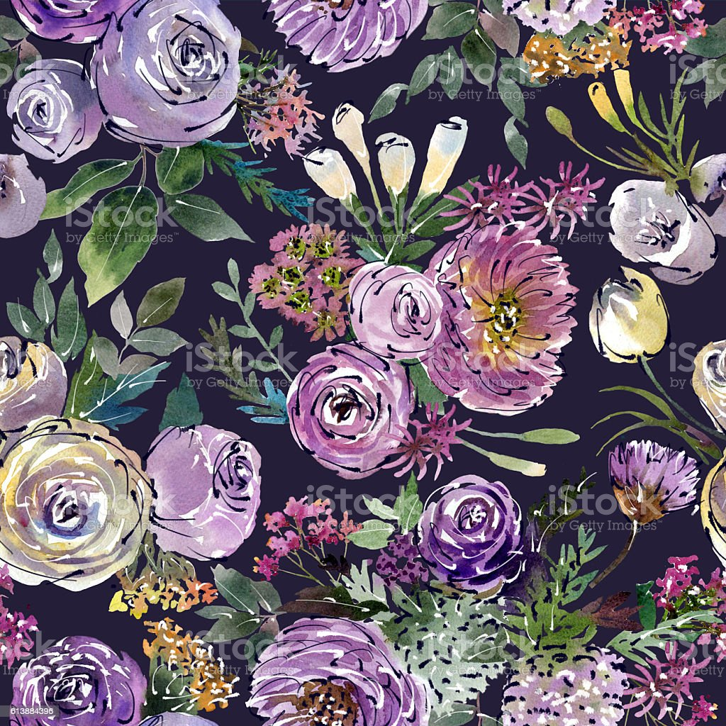 Drawing floral watercolor collage arranged in a pattern.Blue background stock photo