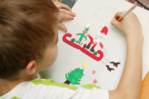 zeichnung für santa - basteln mit kindern weihnachten stock-fotos und bilder