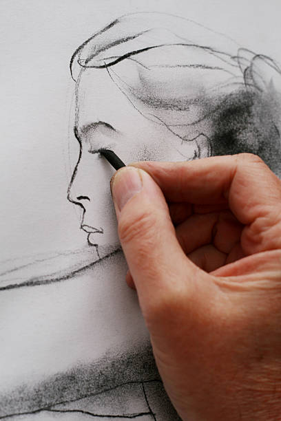 drawing from a model - charcoal drawing stock photos and pictures