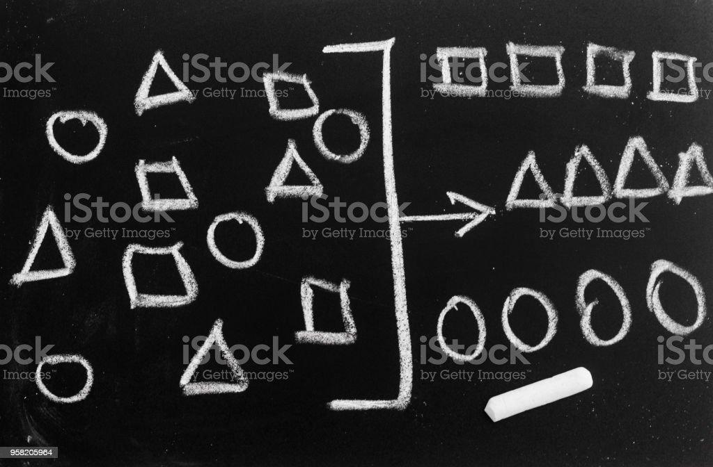 drawing geometry to categorize on chalkboard,  categorizing geometry concept stock photo
