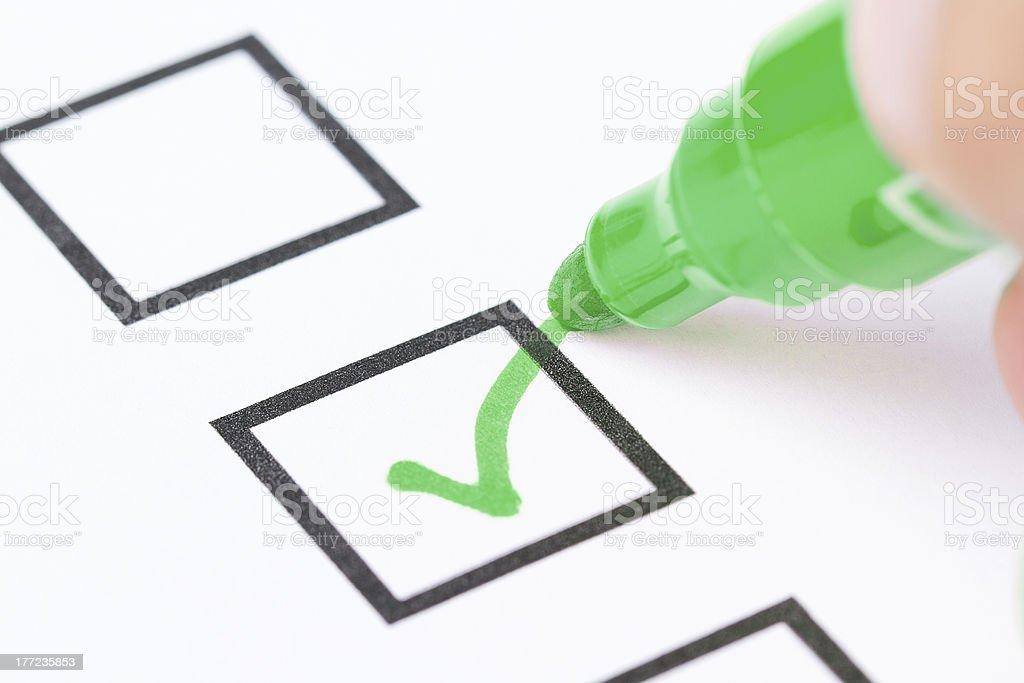 Drawing green check mark stock photo