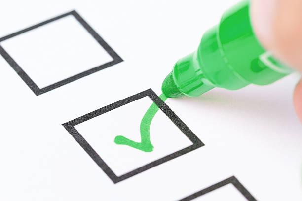 drawing green check mark - voting hands stockfoto's en -beelden