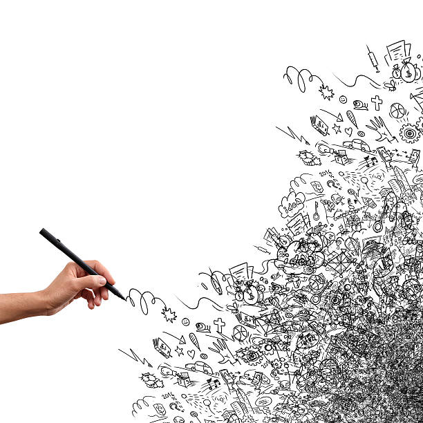 Zeichnung von hand, kreative Gekritzel – Foto