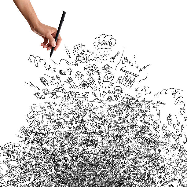 drawing hand, creative doodle - doodle stock photos and pictures