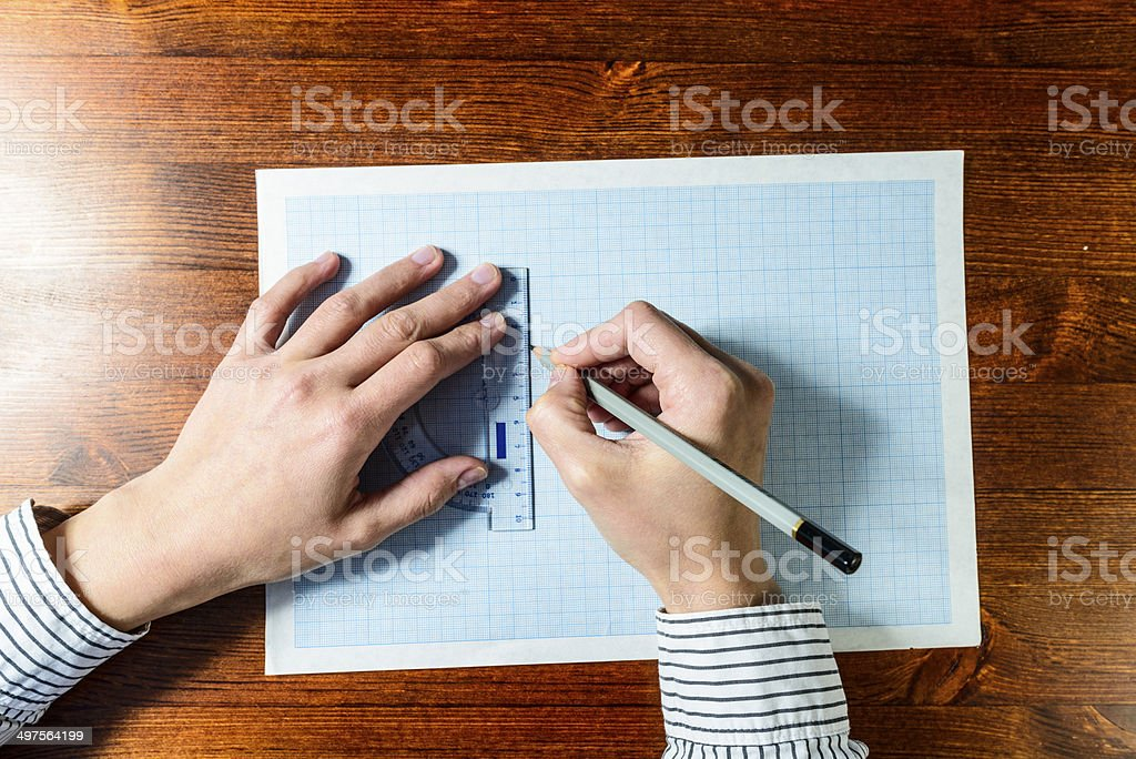 Drawing hands stock photo