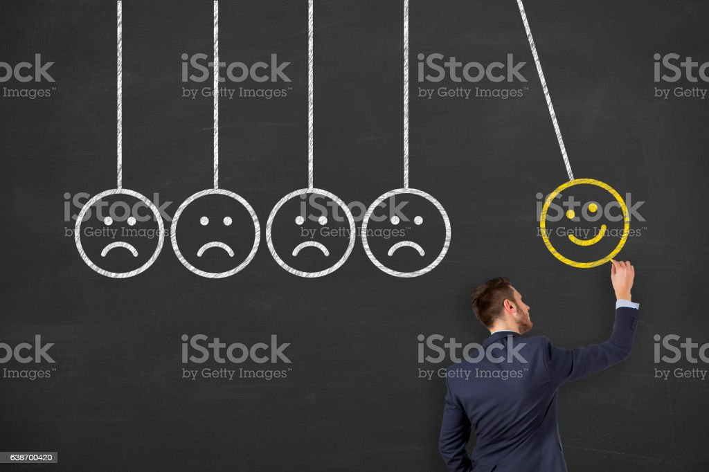 Drawing Happy on Chalkboard Background stock photo