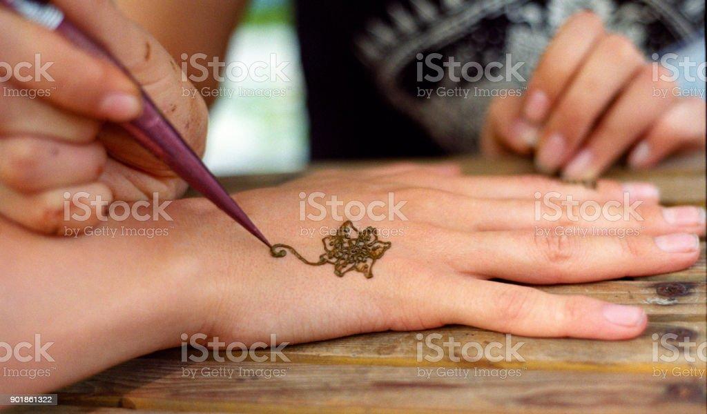 Drawing Henna Tattoo Mehendi On Women Hands Shot On Film Stock Photo