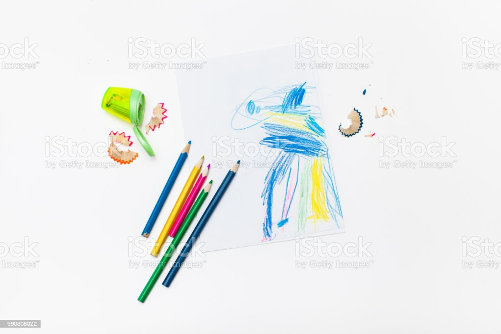 Drawing Horse Child Four Years And Colored Pencils Stock Photo Download Image Now Istock