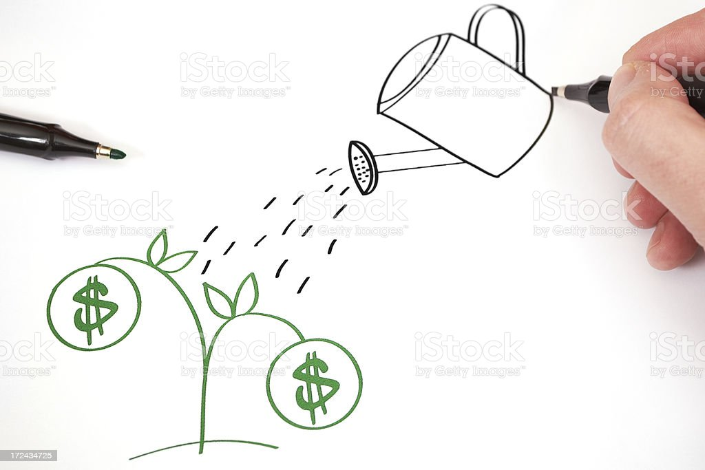 A drawing in progress of watering a money plant stock photo