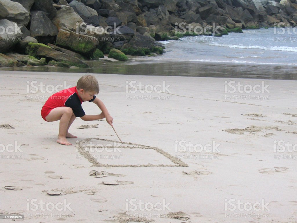 Drawing in the sand royalty-free stock photo