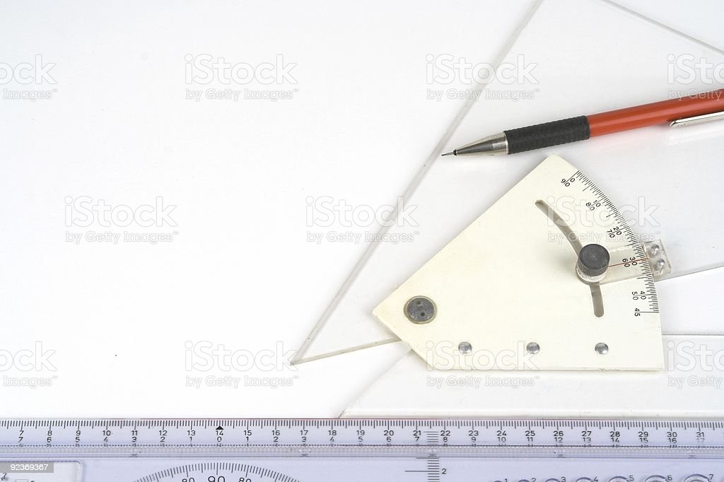 Drawing Instruments Adjustable Square Mechanical Pencil And Ruler royalty-free stock photo