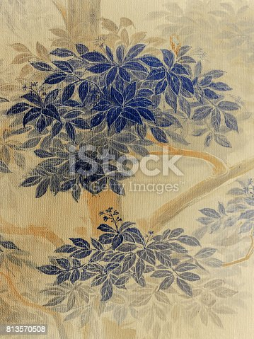 istock Drawing leaves on the wall 813570508