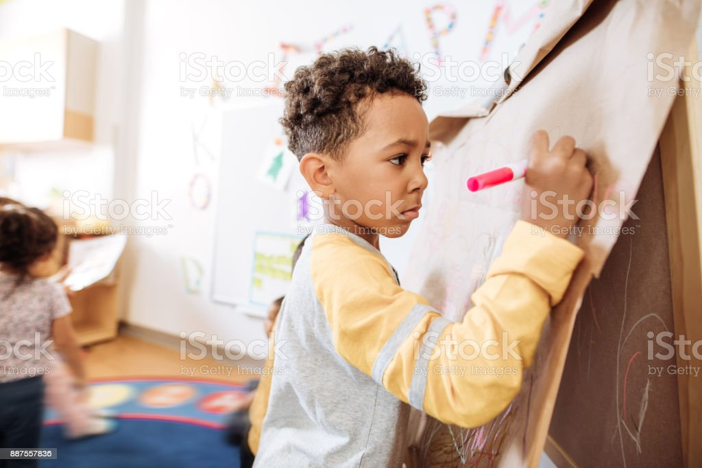 Drawing lessons in kindergarten stock photo