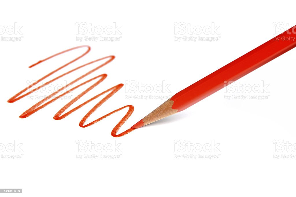 Drawing Line with Red Pencil royalty-free stock photo