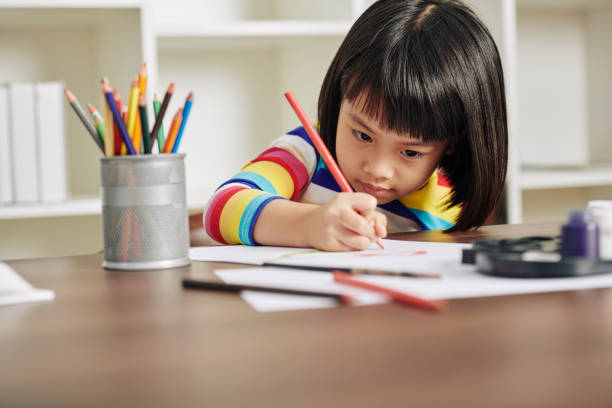 Drawing little girl stock photo