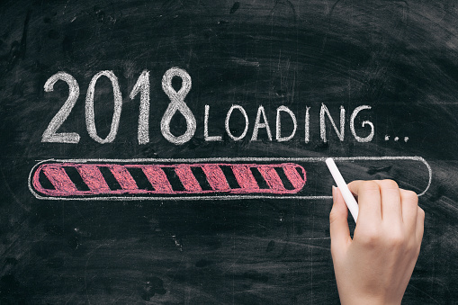 istock Drawing Loading New Year 2018 on Chalkboard 865989746