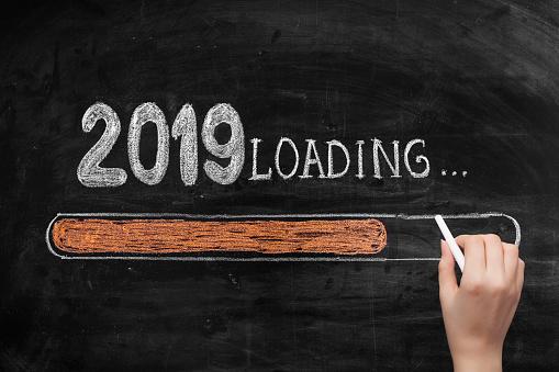 istock Drawing Loading New Year 2019 on Chalkboard 1072245158