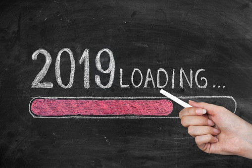 istock Drawing Loading New Year 2019 on Chalkboard 1079814500