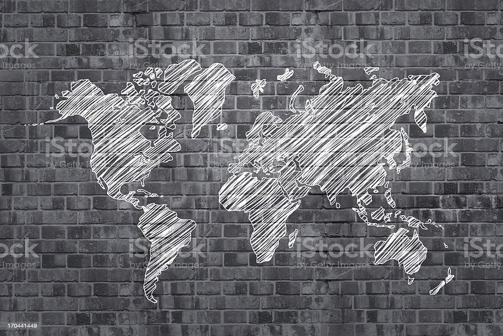 drawing map royalty-free stock photo