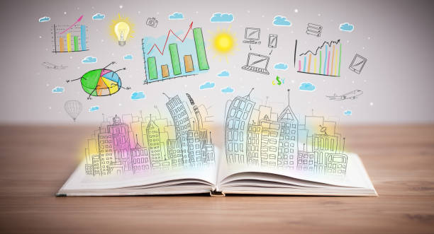 drawing of a business scheme on an opened book stock photo