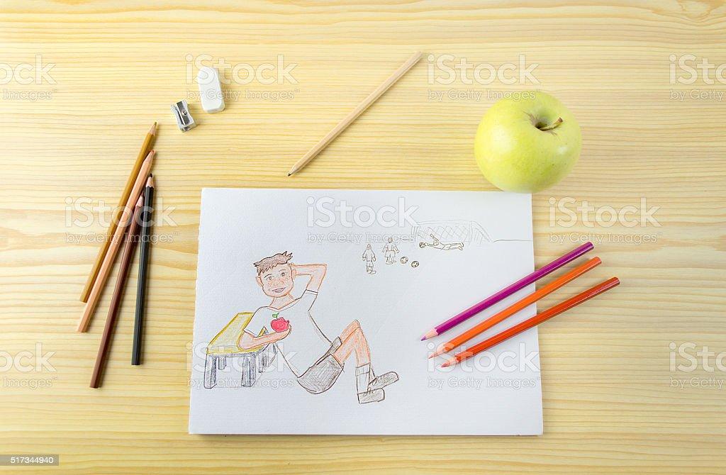 Disegno Di Un Bambino : Disegno di un bambino mangia una mela foto di stock 517344940 istock
