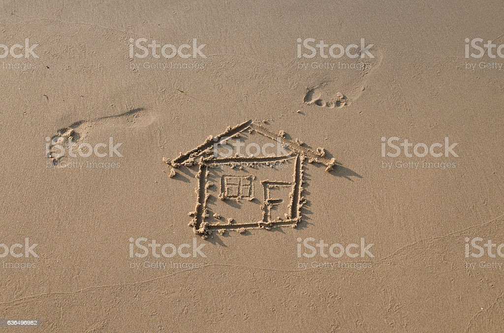 Drawing of a house on the beach concept of mortgage stock photo