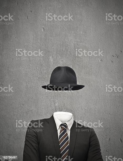 Drawing Of An Invisible Man Wearing A Suit And Hat Stock Photo - Download Image Now