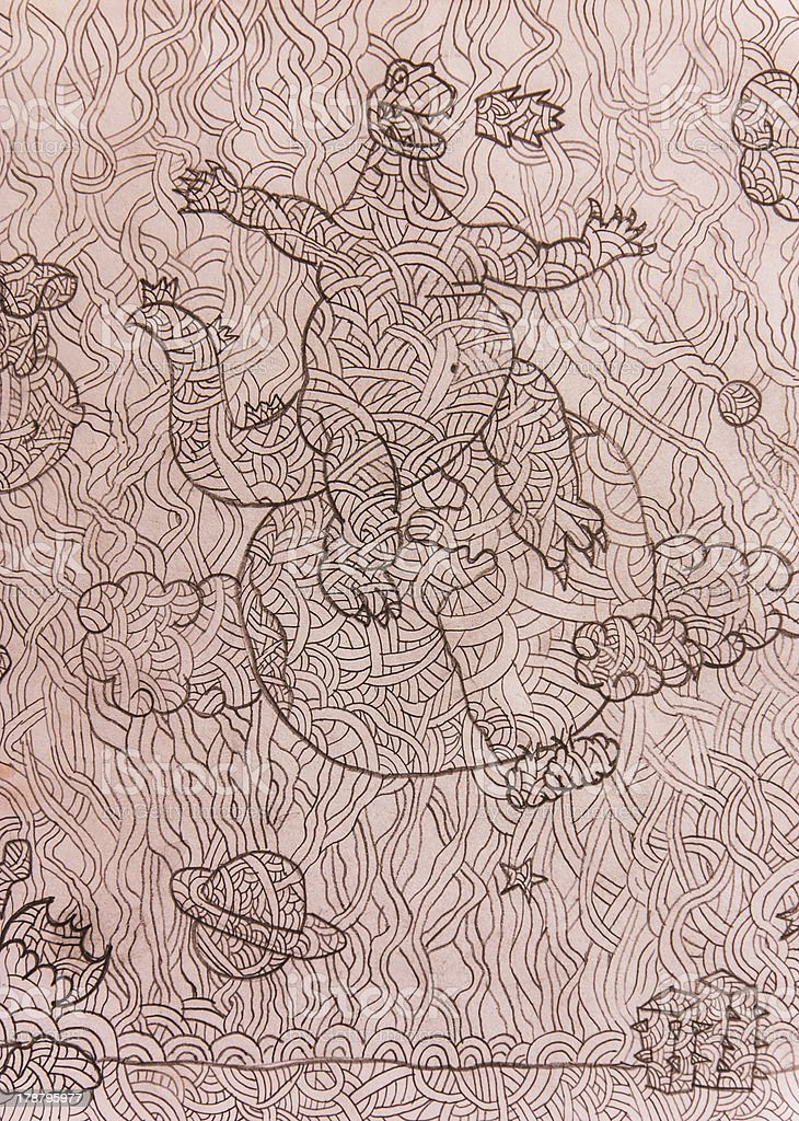 Drawing of  dinorsaur royalty-free stock photo