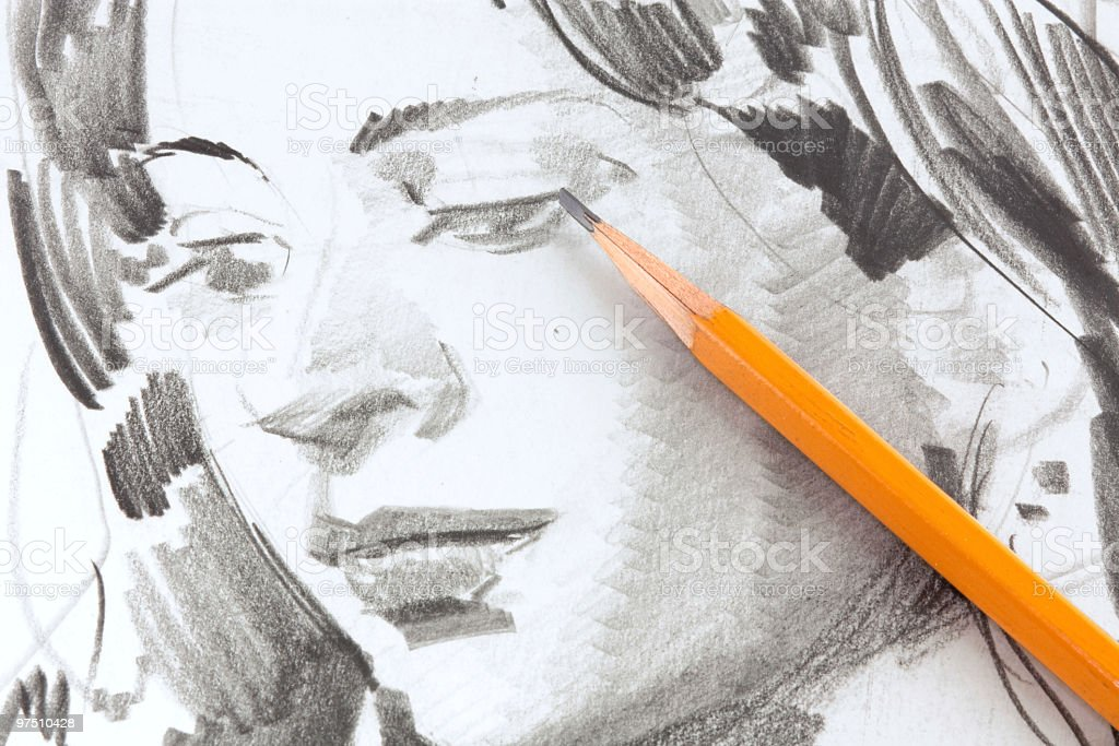 Drawing of girl by graphite pencil royalty-free stock photo