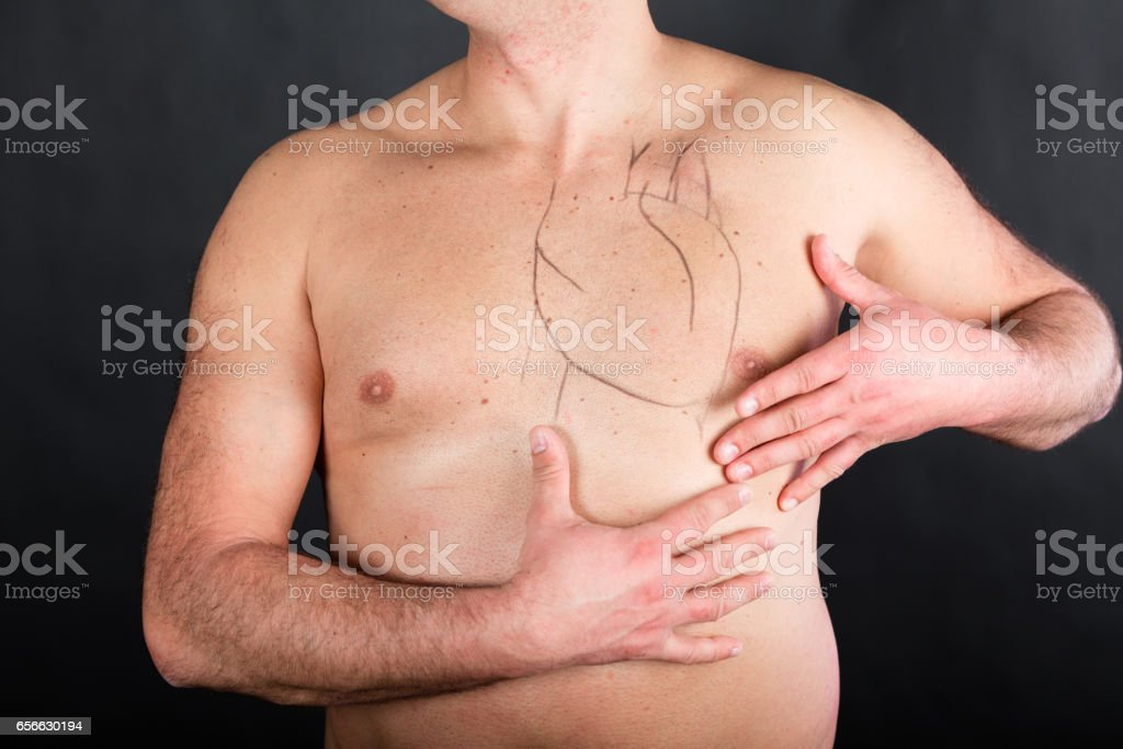Drawing Of Heart On Human Body Stock Photo More Pictures Of