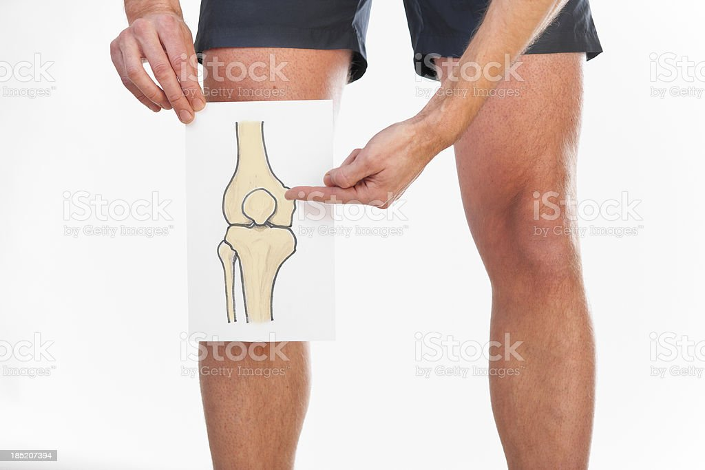 Drawing of knee joint stock photo