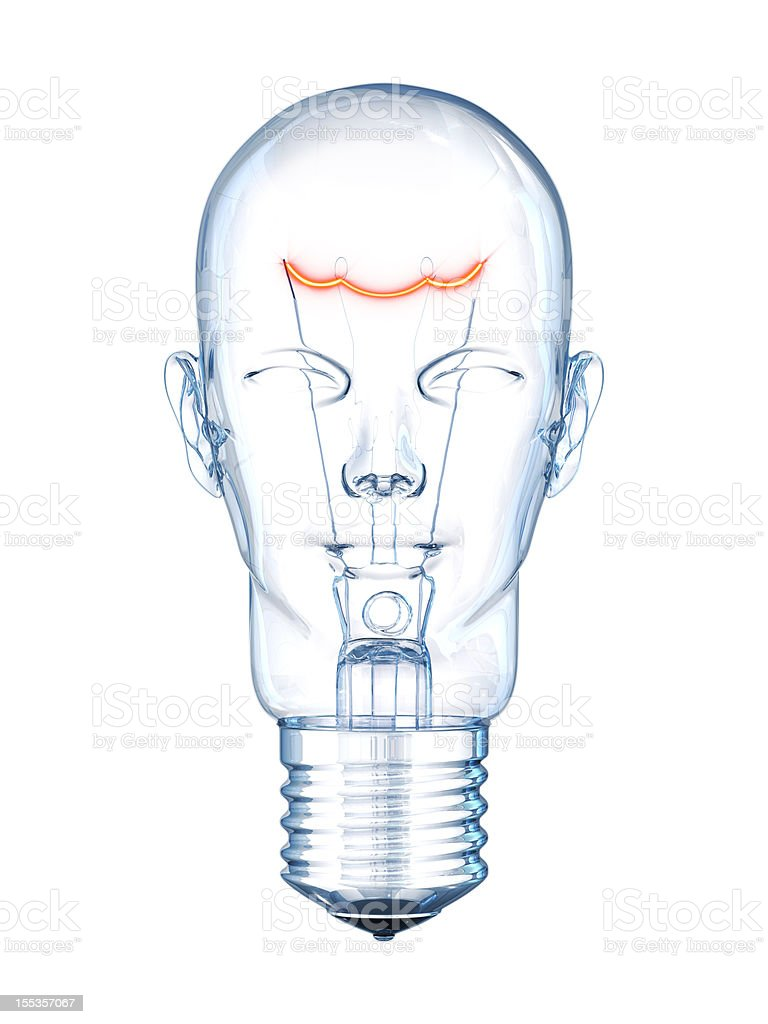 Drawing of lightbulb shaped like a human head stock photo