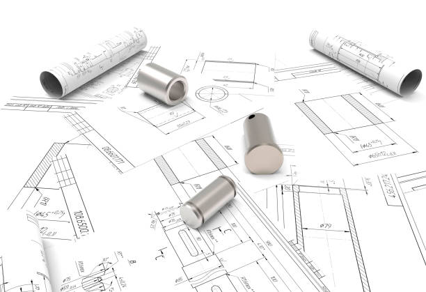 drawing of machine parts. Design documentation. Drawings and metal parts. Shaft, pinion and paper drawings. 3D rendering. project drawing of machine parts. Design documentation. Drawings and metal parts. Shaft, pinion, bushing and paper drawings. 3D rendering. project coupling device stock pictures, royalty-free photos & images