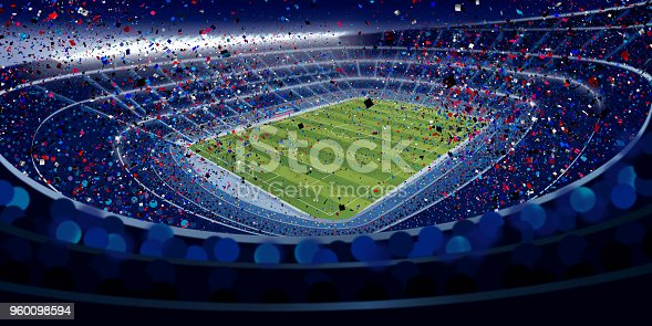 istock Drawing of wide angle view of a stadium full of people at night in blue tones with blue, red and white confetti falling in large format 960098594
