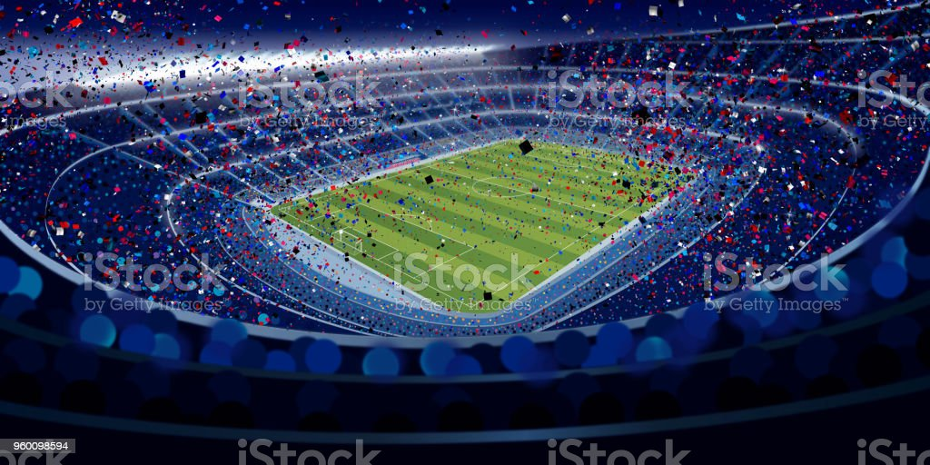Drawing of wide angle view of a stadium full of people at night in blue tones with blue, red and white confetti falling in large format stock photo