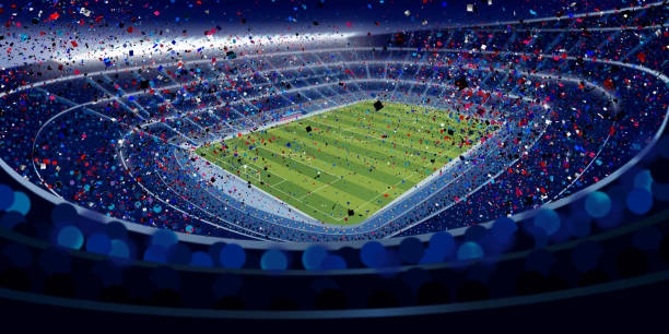 drawing of wide angle view of a stadium full of people at night in blue tones with blue, red and white confetti falling in large format - alejomiranda stock pictures, royalty-free photos & images
